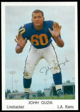 John Guzik 1959 Bell Brand Rams football card