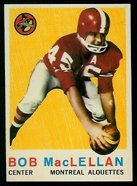 Bob MacLellan 1959 Topps CFL football card