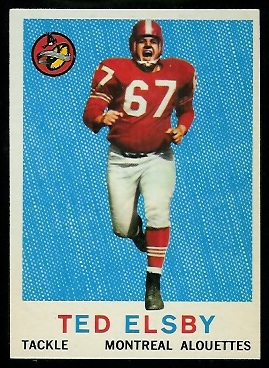 Ted Elsby 1959 Topps CFL football card