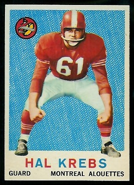 Hal Krebs 1959 Topps CFL football card