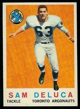 Sam DeLuca 1959 Topps CFL football card