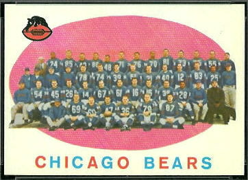 1959 Topps Chicago Bears team football card