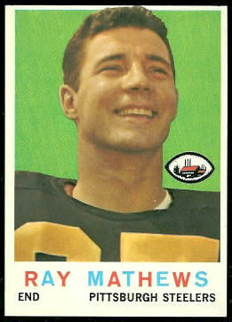 Ray Mathews 1959 Topps football card