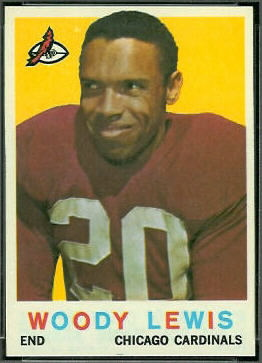 1959 Topps Woodley Lewis error football card