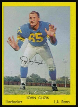 John Guzik 1960 Bell Brand Rams football card