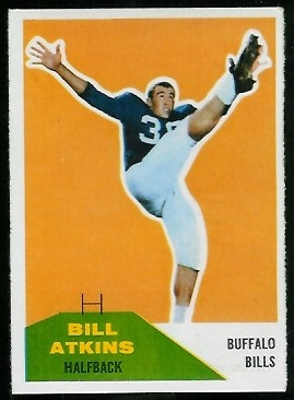 Bill Atkins 1960 Fleer football card