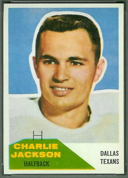 Charlie Jackson 1960 Fleer football card