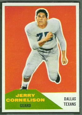 Jerry Cornelison 1960 Fleer football card