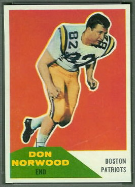 Don Norwood 1960 Fleer football card