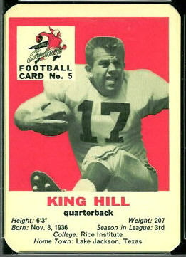 King Hill 1960 Mayrose Cardinals football card