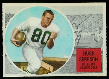 Hugh Simpson 1960 Topps CFL football card