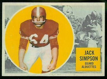 Jack Simpson 1960 Topps CFL football card