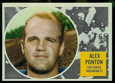 Alex Ponton 1960 Topps CFL football card