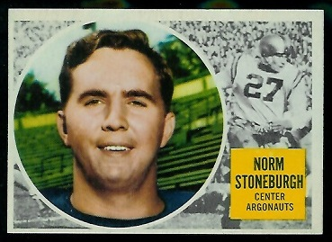 Norm Stoneburgh 1960 Topps CFL football card