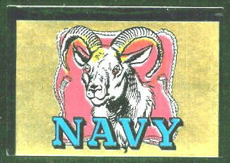 Navy Midshipmen 1960 Topps Metallic Stickers football card