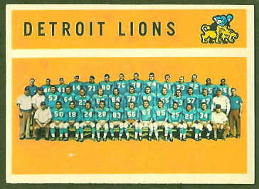 Detroit Lions Team 1960 Topps football card