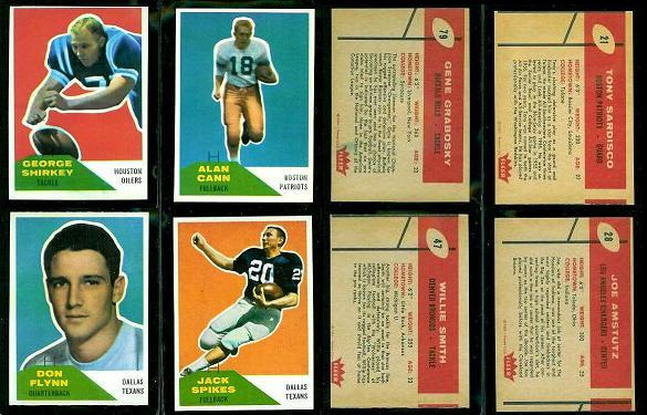 1960 Fleer wrong-back football cards