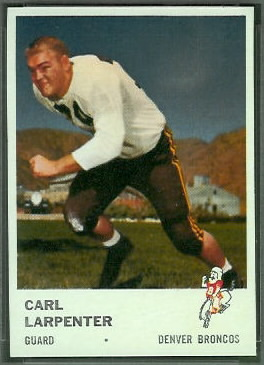 Carl Larpenter 1961 Fleer football card