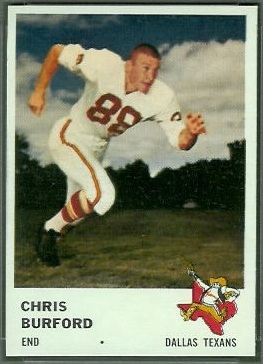 Chris Burford 1961 Fleer football card