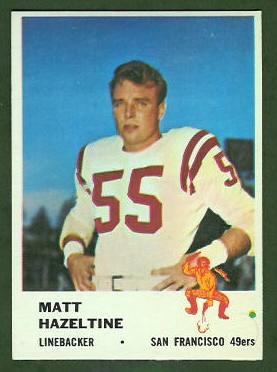 Matt Hazeltine 1961 Fleer football card