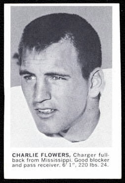 Charlie Flowers 1961 Golden Tulip Chargers football card