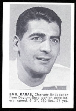 1961 Golden Tulip Chargers Emil Karras football card
