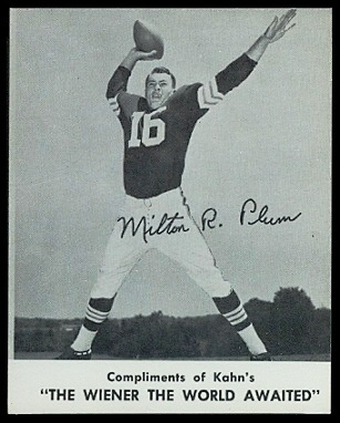 Milt Plum 1961 Kahns football card