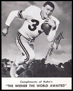 1961 Kahn's Wieners Tom Tracy football card