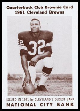 Jim Brown 1961 National City Bank Browns football card