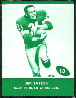Jim Taylor 1961 Packers Lake to Lake football card