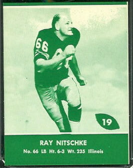 Ray Nitschke 1961 Packers Lake to Lake football card