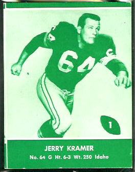 Jerry Kramer 1961 Packers Lake to Lake football card