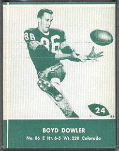 Boyd Dowler 1961 Packers Lake to Lake football card