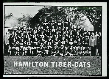Hamilton Tiger-Cats Team 1961 Topps CFL football card