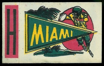 Miami 1961 Topps Flocked Stickers football card