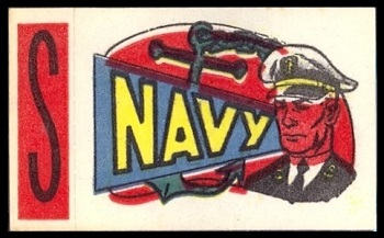 Navy 1961 Topps Flocked Stickers football card