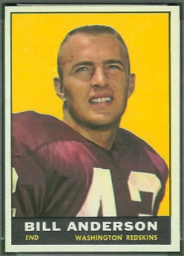 Bill Anderson 1961 Topps football card