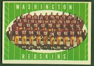 Redskins Team 1961 Topps football card