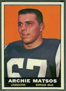 Archie Matsos 1961 Topps football card