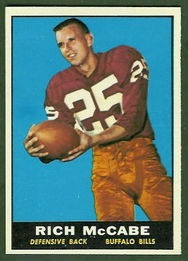 Rich McCabe 1961 Topps football card