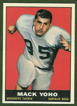 Mack Yoho 1961 Topps football card