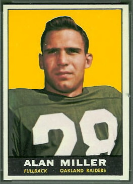 Alan Miller 1961 Topps football card