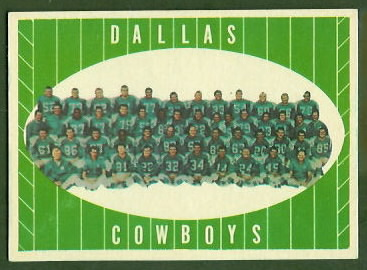Cowboys Team 1961 Topps football card