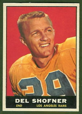 Del Shofner 1961 Topps football card