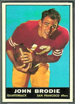 John Brodie 1961 Topps football card