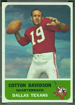Cotton Davidson 1962 Fleer football card