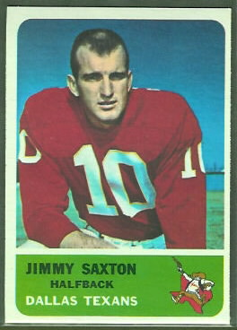 Jimmy Saxton 1962 Fleer football card
