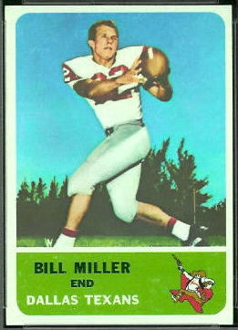 Bill Miller 1962 Fleer football card