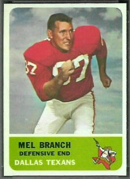 Mel Branch 1962 Fleer football card