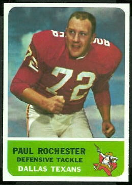 Paul Rochester 1962 Fleer football card